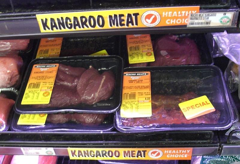 A kenguruhús egészséges választás - A kenguru húsa zsírszegény. A kengurukolbász (helyi neve kanga bangasz) Ausztráliában hozzáférhető. (wiki)