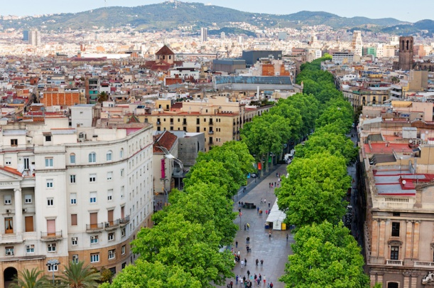 Las Ramblas of Barcelona, Aerial view