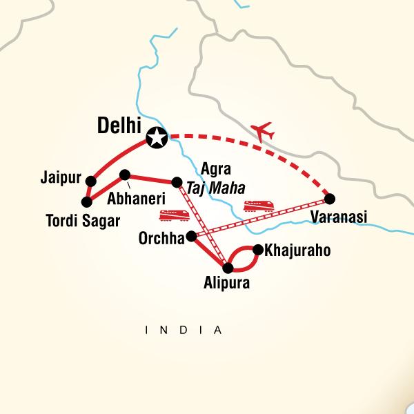 India legjava - Essential India túra útvonalának térképe
