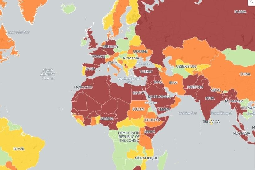 Térkép a biztonságos és kockázatos országokról